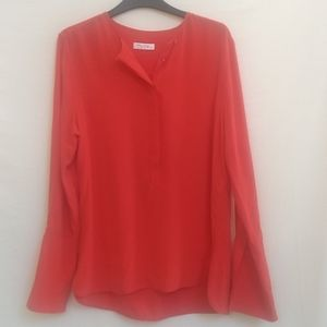 Equipment Femme Coral Silk Blouse Top S/P